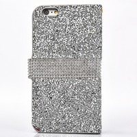 leather rhinestone cell phone case for iphone6 6s plus