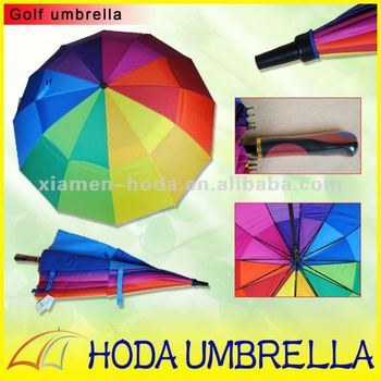 Promotional Colorfull / rainbow Double Layer Windproof Golf Umbrella