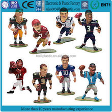 Custom design small plastic toy figures of football teams,customized small miniature football player plastic toys figures