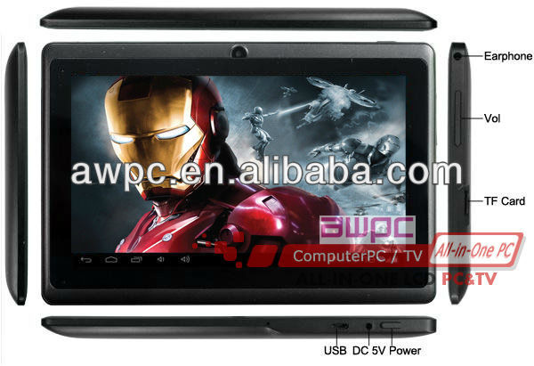 "7"" capacitive Android 4.0 O.S Tablet pc with 1gb DDR & 4gb HDD"