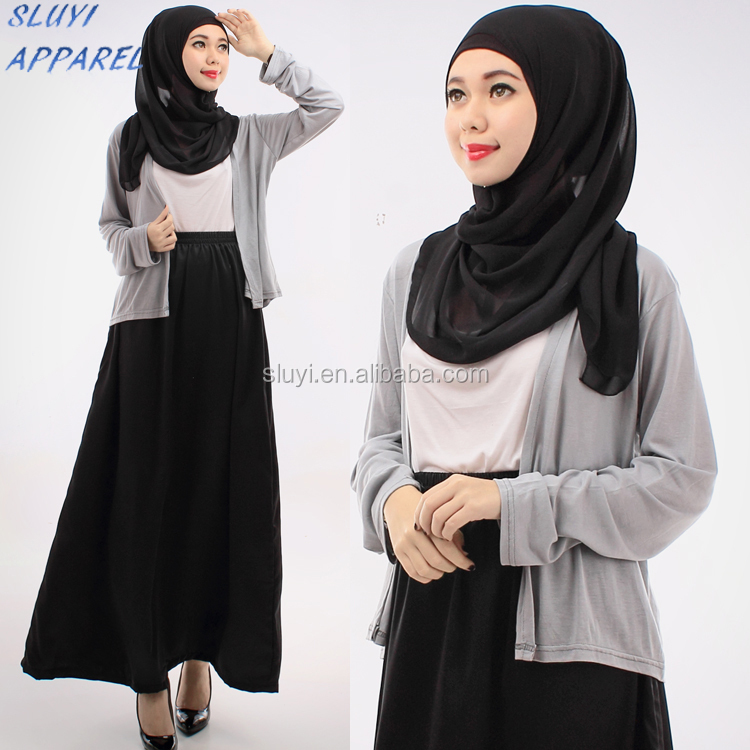 Wholesale dubai abaya islamic clothing Cardigan Tank Top with Skirt Including Shawl ladies fashion formal wear abaya skirt