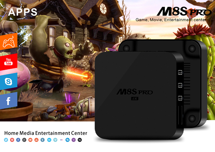 M8S-pro kodi 15.2 android 4 ip box tv, japanese free streaming japan tv box, rk3229 quad core ott tv box