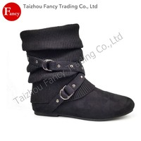 2016 New Lady Low Price Flat Sole Winter Boot