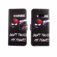 HD print customized warning gun design phone leather wallet case for samsung