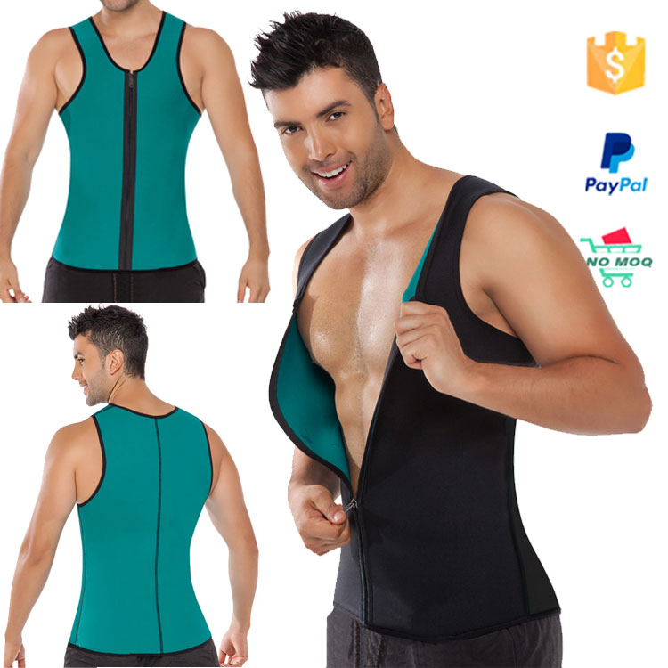 Hot gym neoprene blue vest shaper latex bodysuits for men