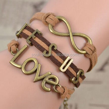 Handmade Fashion BrownWax Cord Bracelet Wholesale With Metal Love Charms Bracelet Jewerly