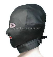 2017 hot selling Sex Toys Black Faux Leather Full Sex Hood Mask Latex Costume Fetish Bondage Hood with Eye and Mouth Zipper