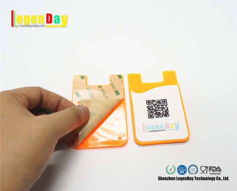 High Quality 3M Silicone Cell Phone Wallet Case Card Holder