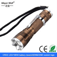 Cheap rechargeable aluminum cree waterproof led flashlight