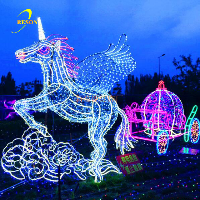 3D led motif lights HORSE CARRIAGE for square, supermarket, park, shopping mall christmas commercial decoration
