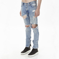 China factory low MOQ oem new designs blue ripped slim fit man jean