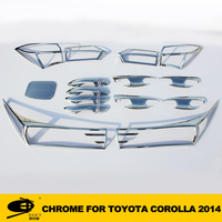 Complete Full Set of Exterior Chrome accessories with 3M Tape fitsTOYOTA COROLLA 2014 chrome car accessories