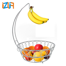 Factory Price Home Supplier Metal Wire Fruit Basket With Banana Holder