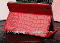 Sexy red Leather crocodile pattern Case for iPad Mini with stand function