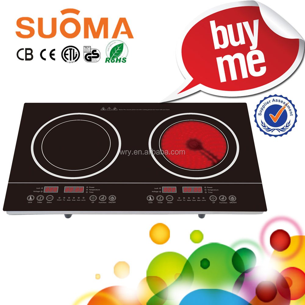 4000W Touch Model Double Burner Cooktop/Induction Cooker vs Infrared Cooker with Steel Rim