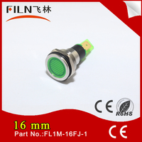 New design flat head 250v 16mm mounting hole metal green motorcycle signal light