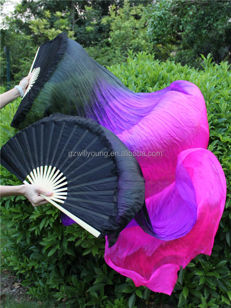 On Sale Belly Dance Real Silk Fans, Belly Dance Silk Veils, 180cm long, Black-Purple-Fuschia