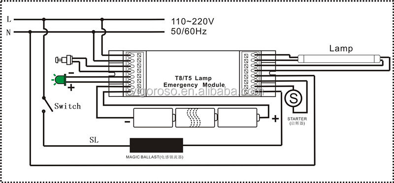 t8 fluorescent lamp emergency battery
