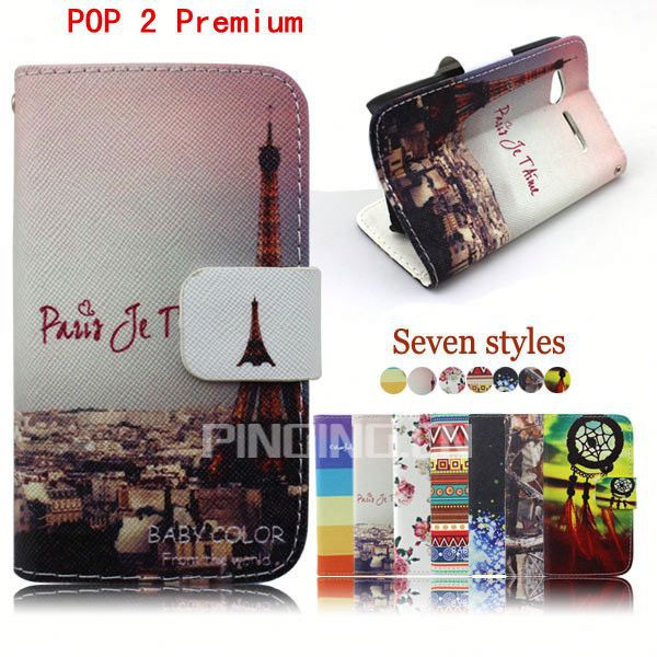 Printed PU Leather Folio Case Cover with card slots holder Phone Case for Alcatel One Touch POP 2 Premium