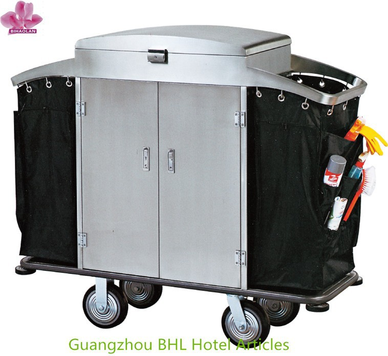 Stainless steel housekeeping trolley cleaning cart for hotel