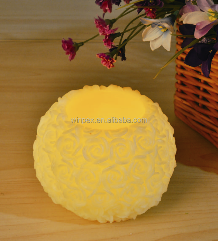 Hand-carved Rose Flower Candles Round Ball Wax Candles