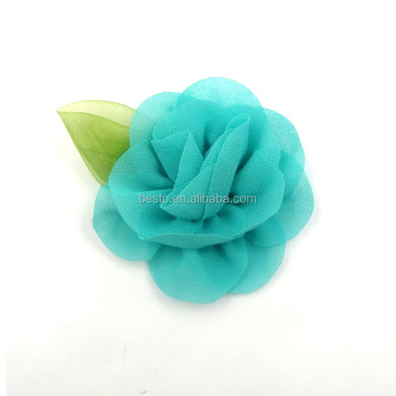 Wholesale high quality handmade rosette rose chiffon decorative flower,fabric flower