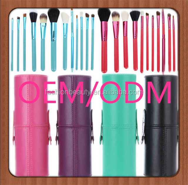 fashion purple makeup brush set 7pcs/set with purple cylinder