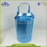 metallic lamination round non-woven storage bag with drawstring rope
