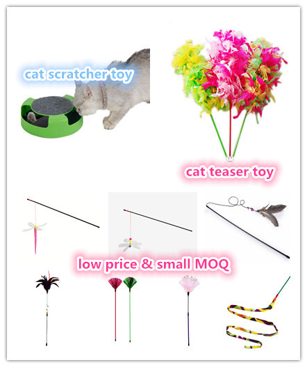 BSCI QQ Catoy Factory Cat Feather Teaser Wand Exerciser Interactive Retractable Cat and Kitten Toys