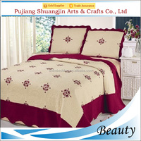 Rose red 70gsm microfiber quilted bedspread queen size satin embroidery bedding