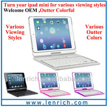 LBK156 360 degree rotating keyboard for ipad mini 2,foldable with back holder keyboard for the new ipad mini