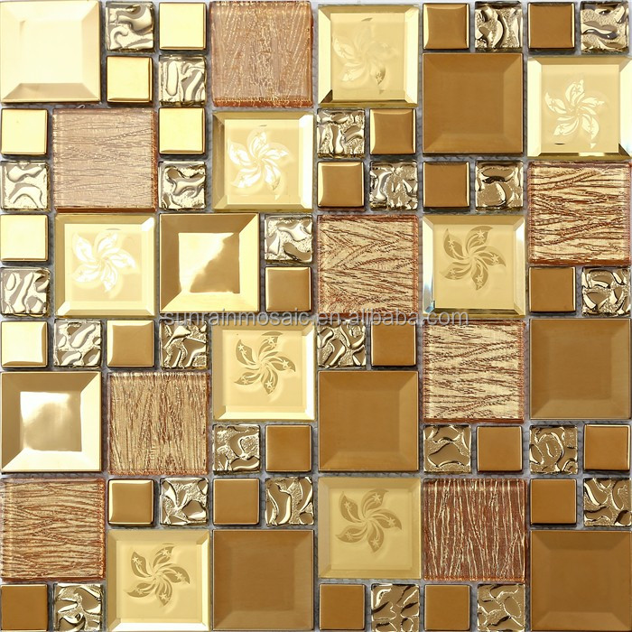 Foshan top quality gold leaf glass mosaic tile factory