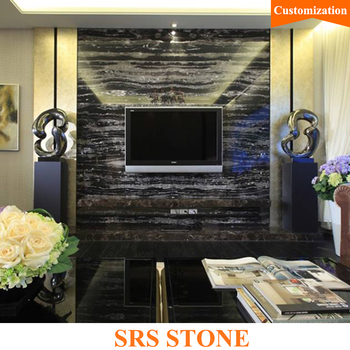 Black color White veins marble tile for TV background Silver dragon marble