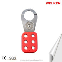 Red Plastic Coating Alarm Lockout Hasps fits for Small Electrical Power Workshop
