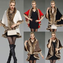 C66384A 2015 newest winter high quality cape cape fur coat poncho for women