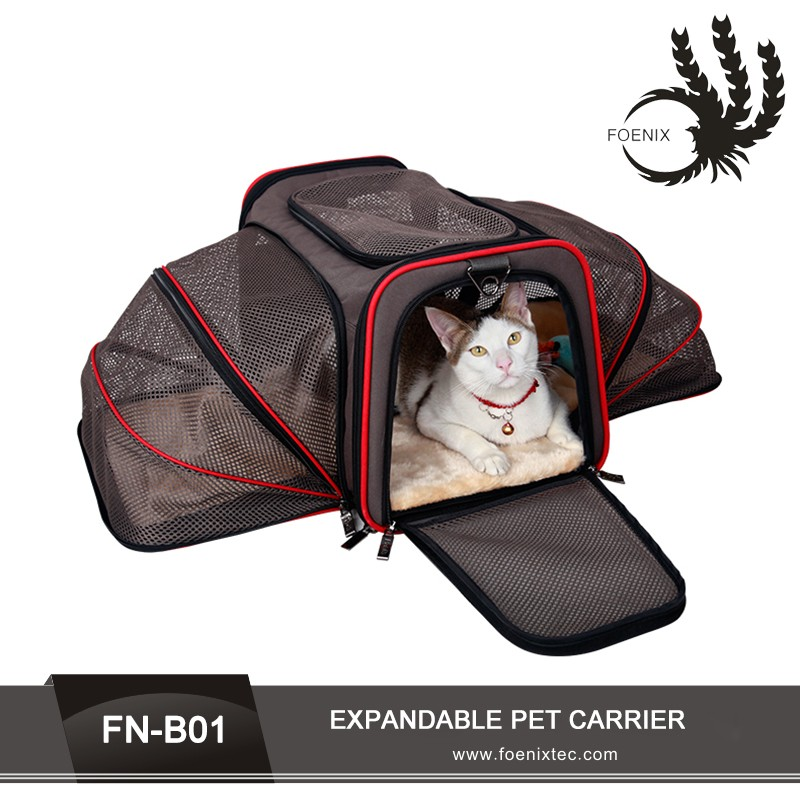2016 factory wholesale gray expandable carrying soft dog cage pet carrier bag