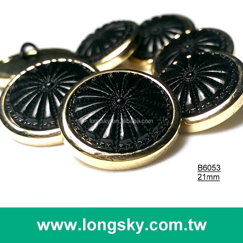 (#B6053/21mm) Gold plating and matt black two parts combination button