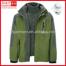 2013 winter fashion outdoor jacket in army green and grey with Telfon