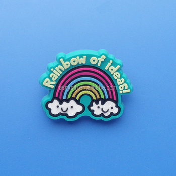 2017 hot sale rainbow with smile cloud customized 3D soft pvc badge for girls