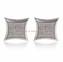 Chapado <span class=keywords><strong>de</strong></span> rodio aaa cubic zirconia micro pave plata <span class=keywords><strong>forma</strong></span> kite bling iced out earring
