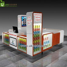 Popular style mobile cell phone repair accessories display kiosk with LED lights to Sweden