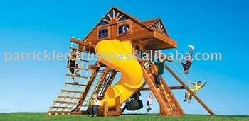 Supersized King Kong Castle Cabin with Dual Lofts and Spiral Slide Swing Sets