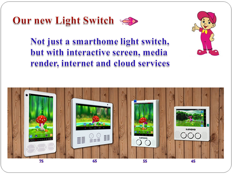 Smart Home WIFI Light Wall Switch with Android, Quad-Core CPU, Bluetooth, Sound Box, 7 Inch Portrait Displayer and Touch Screen