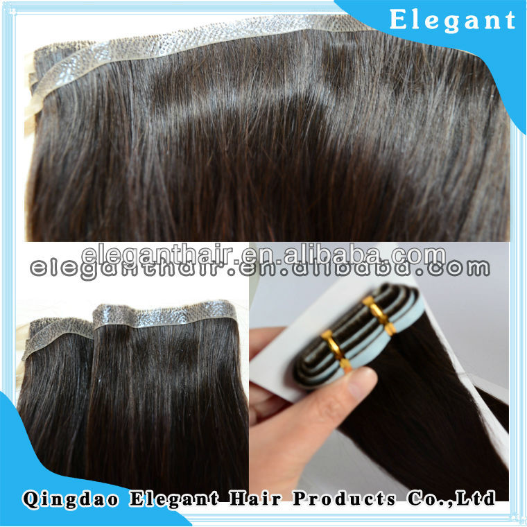 Brazilian Virgin human hair hand tied seamless PU skin weft hair extensions wholesale price