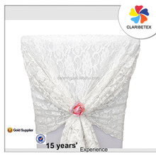 Sale pormotion wholesales Elegant white lace ruffled chair covers chair sash hood for wedding