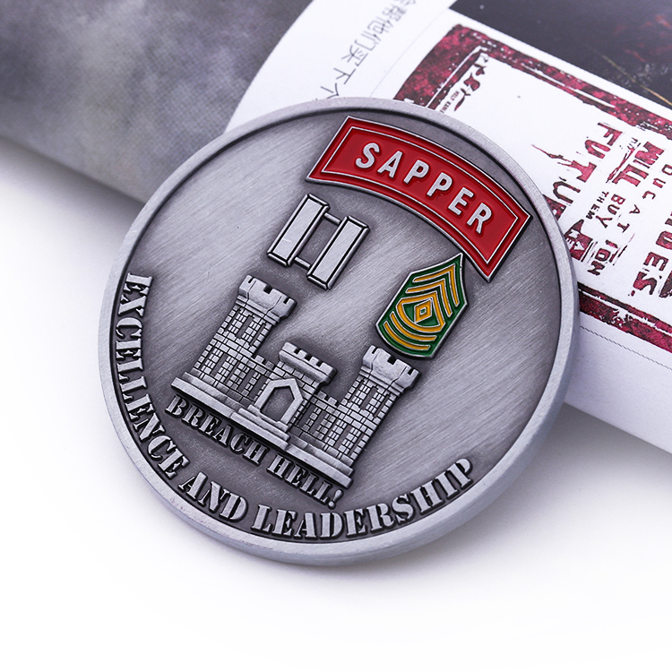 Factory direct wholesale custom Gun black wire drawing 3D soft enamel sapper  metal souvenir coin
