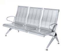 Steel bench seating public airport flash oil color 3 seater mesh high back waiting chair