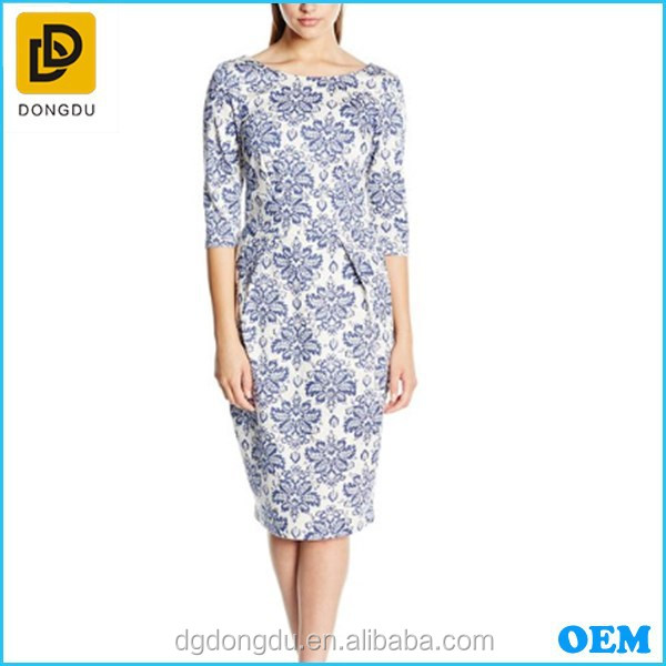 2016 new design fashion pencil printing partten half sleeves cocktail dress for laidies