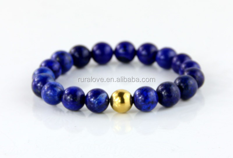 fashion 10mm lapis beads stretch bracelet with 10mm gold stainless steel bead men and women size available