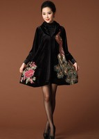 Embroidery Peacock & Flowers 3/4 Sleeve Black Skirt Loose Oversized Coat